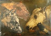 têtes de chevaux et oiseau by sir edwin henry landseer