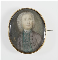 a gentleman, wearing grey coat and emerald green waistcoat, both edged with silver embroidery, white stock, his powdered wig curling behind his shoulders by andrew benjamin lens