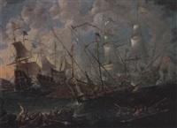 a sea battle between moors and christians by caspar van eyck