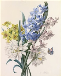 a bunch of narcissi, wild hyacinths and chrysanthemums, with a small butterfly by zélie-julie d' leindre