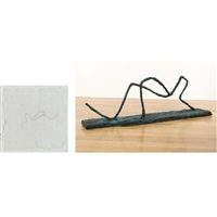 untitled - reclining figure (+ preparatory sketch; 2 works) by joel a. fisher