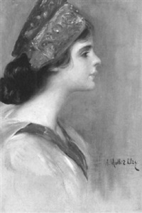 portrait of a woman in profile by adolfo felice müller-ury