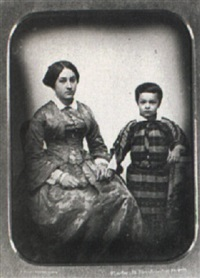 handsome half-plate daguerreotype of an elegantly dressed  mother and her son by charles (carlos) deforest fredricks