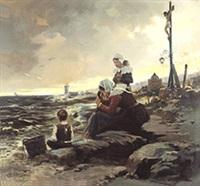 wachtend op de terugkeer van de vissers by florimond (flori-marie) van acker