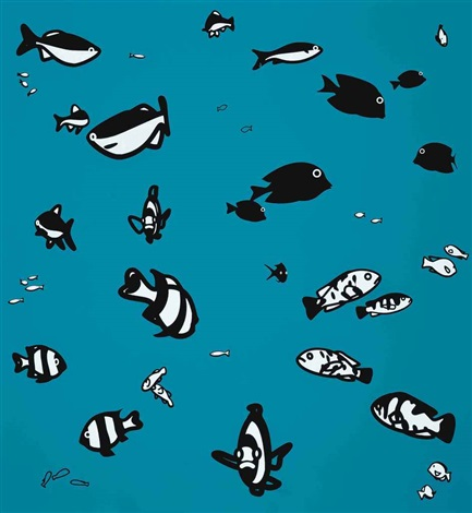 we swam amongst the fishes version two by julian opie