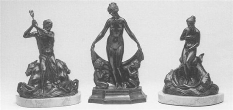 a pair of figural bookends of poseidon and aphrodite;    together with a bronze group of venus with two putti (3) by gleb derujinsky