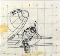 tintin et milou, illustration à la mine de plomb sur calque pour la case c2, planche 9 de l'épisode