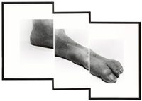 self portrait (stepped foot) (in 3 parts) by john coplans