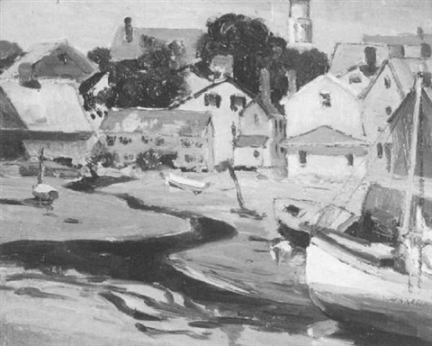 low tide in the harbor by arthur j beaumont