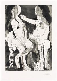 femmes nues au miroir by pablo picasso