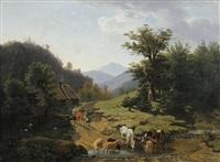 alpenlandschaft mit kuh- und schafherde an einem teich by friedrich karl joseph simmler