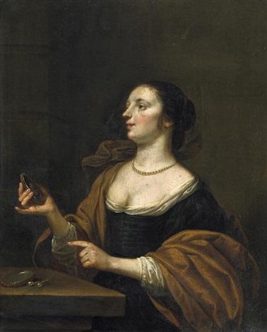 bildnis einer elgeganten dame in der rechten einen spiegel haltend auf dem tische ihr kostbarer perlenschmuck by eglon hendrik van der neer
