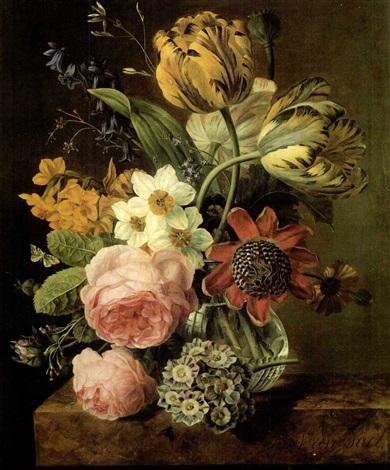 bouquet de fleurs dans un vase en cristal pose sur un entablement en marbre by j b van dael