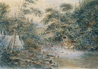 fishing by the rapids (+ fishing on a quiet backwater; 2 works) by joseph julius humme