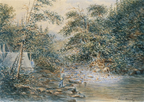 fishing by the rapids fishing on a quiet backwater 2 works by joseph julius humme