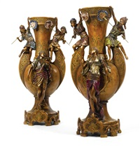 orientalist-style vases (pair) by louis hottot