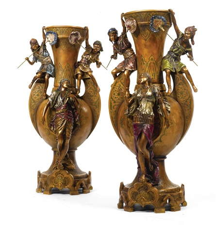 orientalist style vases pair by louis hottot