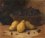 compositions aux poires et panier de raisin, au lièvre et à la bassine de cuivre, au col vert, aux poissons et citrons (4 works) by le roux