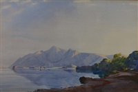 a mountainous lakeside landscape by william heaton cooper