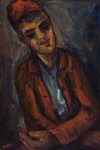 jongen met rood jasje by moshe castel