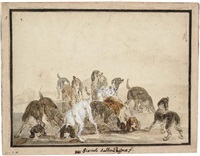 a pack of hounds by hyacinthe de la peigne