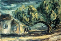houses and trees in neve zedek by aharon avni