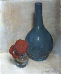 a still life with red flowers and a blue vase by alexander van taack takranen