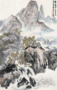 秋山鸣泉 立轴 设色纸本 by xiao ping