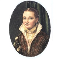 portrait of sofonisba anguissola, wearing a red doublet over a cream shirt, with blue pearl-drop earings by lucia anguissola