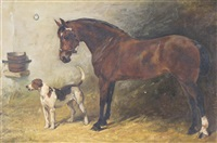 colonel, a hunter in a stable, with a foxhound by john emms