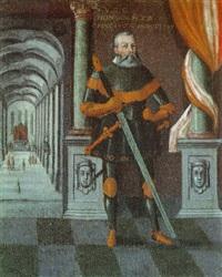bildnis des herzogs heinrich zu gotha im harnisch mit einem bihänder in der säulenhalle seines schlosses by hans krell