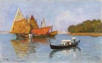 fischerboote vor der silhouette von venedig by richard lang-heilbronn