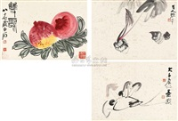 untitled (album w/3 works) by zhang daqian and qi baishi
