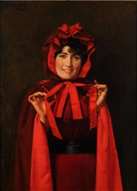 red riding hood; portrait of a young lady said to be miss butcher of nottingham by noel denholm davis