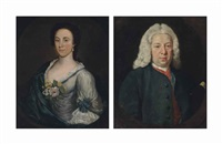 portrait of a gentleman, traditionally identified as john frederick of wellingborough (1704-1775), half-length, in a blue coat... (+ portrait of a lady, traditionally identified as anne frederick (1727-1788); 2 works) by joseph highmore