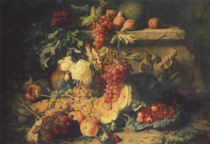 fruits sur une terrasse avec un bas relief représentant silène by simon saint jean