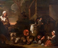 famille de paysans devant une chaumière et nature morte aux cuivres (attributed to willem steen) by le nain