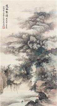 邃谷寒潭 立轴 设色纸本 ( landscape) by wu hufan