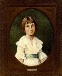 portrait of a girl in a white dress by harry clifford pilsbury