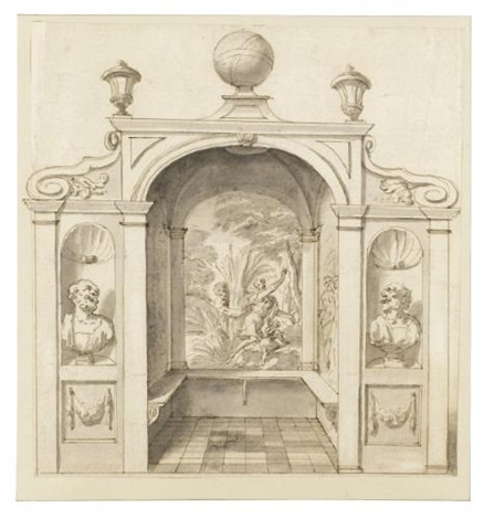 a design for a garden house decorated with marble busts a mythological painting and a terrestrial globe on the roof two figures withhin an architectural setting 2 works by sir james thornhill