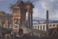 landscape with antique ruins and figures by jacques michel denis lafontaine