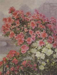 blooming azalea along the river seine, paris by hildegard lehnert
