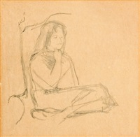 a seated girl (study) by michael andrews