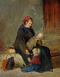 mutter mit zwei kleinen kindern by adolf humborg