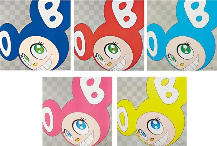 and then and then and then and then and then (blue, red, aqua, pink and yellow) (5 works) by takashi murakami