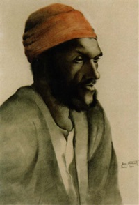portrait of an egyptian man by jaromir hilbert