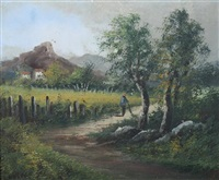 country road with distant farmhouse by louis henry