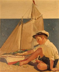 boy with toy sailboat by frederick sands brunner