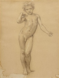 étude d'enfant pour l'admiration (study) by william adolphe bouguereau