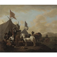 a military encampment with soldiers carousing before a tent by evert oudendyck